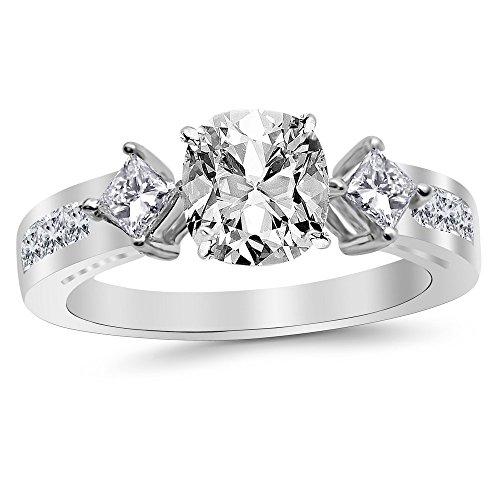 1.85 Cttw 14K White Gold Cushion Cut Channel Set 3 Three Stone Princess Diamond Engagement Ring with a 1 Carat J-K Color I2 Clarity ()