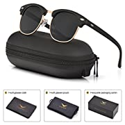 Amazon #DealOfTheDay: Mens Clubmaster Sunglasses Polarized Womens UV 400 Protection 51MM,by LUENX with Case
