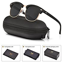 Mens Womens Clubmaster Polarized Sunglasses UV 400 Grey Green Lens Glossy Black Frame 51MM,by LUENX with Case