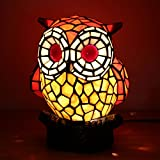 Royal-Tiffany Style Lovely Creative Red Owl Table Lamp Children's Lamp Night Light