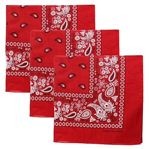 3 PK Cowboy Bandanas 100% Cotton 22 x 22 inch - Burgundy ()