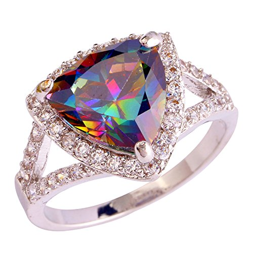 Humasol 925 Sterling Silver Filled Heart Lab-Created Rainbow Topaz Promise Band Engagement Ring for Women