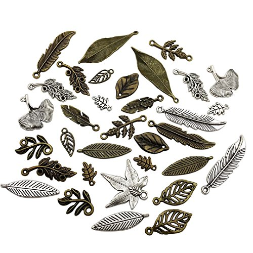 100g Leaf Charms Collection - Antique Silver Bronze Hollow Leaf Tree Leaves Branch Metal Alloy Pendants -