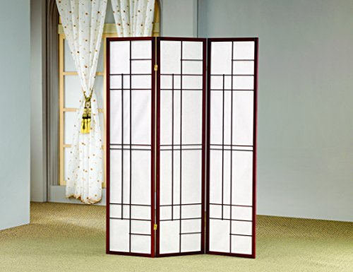 Coaster Transitional Brown Red Three-Folding Panel Screen by Coaster Home Furnishings