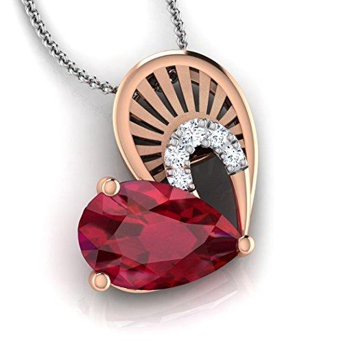 Or Rose 14K 0,03CT TW Round-cut-diamond (IJ | SI) et rubis Pendentif