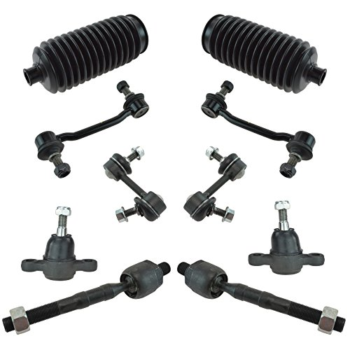 2009 10 Piece - Inner Tie Rod End Lower Ball Joint Rack Boot Sway Bar Link Set for Hyundai Kia