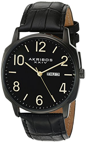 Akribos XXIV Men's Classic Watch AK1025 Series - Arabic Numeral Markers with a Comfortable Canvas Covered Genuine Leather Strap - ()