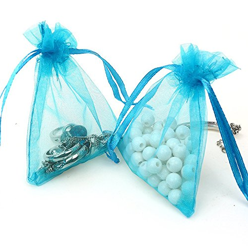 ECVILLA 100pcs 4 x 6 Organza Bags, Gift Bags Organza Drawstring Pouch Jewelry Party Wedding Favor Party Festival Gift Bags Candy Bags (Blue) (Bags Organza Favor Sheer)