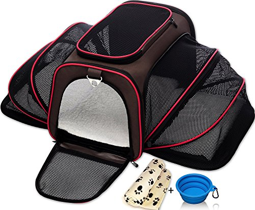 - Expandable Pet Cat Carrier for Small Dogs and Cats - Soft Sided Crate - Airline Approved Medium Kennel Travel Bag - Fits Under or on Top of Seat - 2.8 lbs Dog Carriers with Bonus Blanket & Bowl