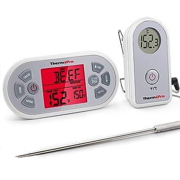 ThermoPro TP21 - Termómetro digital inalámbrico de carne para barbacoa, barbacoa, horno y termómetro