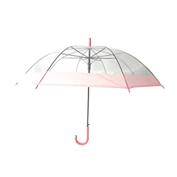 Amarillo paraguas transparente de PVC mango largo paraguas transparente paraguas Candy Color paraguas romántico pareja paraguas