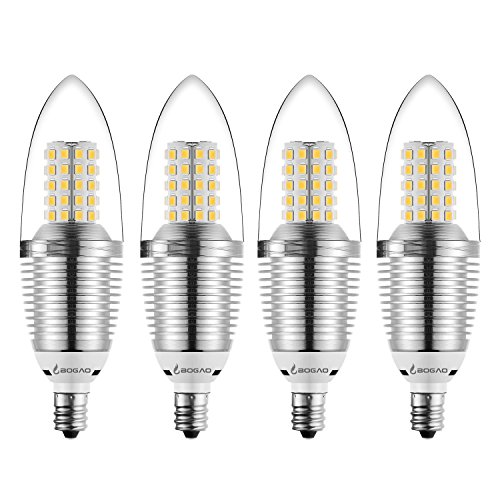 Bogao (4 Pack) LED Candelabra Bulb, 12W Warm White 3000K LED Candle Bulbs, 80-100 Watt Light Bulbs Equivalent, E12 Candelabra Base,1200 Lumens LED Lights,Torpedo Shape