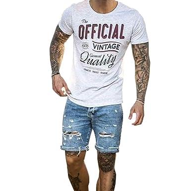 fotos oficiales 3b28d 4f8f6 Qiansu Pantalón Corto Vaqueros para Hombre - Elástico Slim Fit Denim  Pantalones Cortos Distressed Rasgado Agujero Jeans Moda Dobladillo  Enrollado ...
