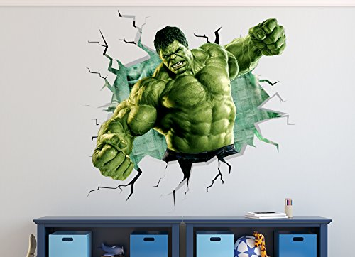 Hulk Smashed Wall Decal Sticker Vinyl Decor Door Window Mural Marvel 3D Smash Removable WW03 (Giant (Wide 50