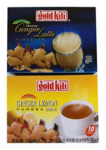 Gold Kili All Natural Ginger & Lemon, Honey Ginger Latte Instant Drink (Bundle)
