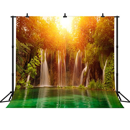 FHZON 10x10ft Waterfall Backdrop Green Forest Clear Lake Sunset Photography Background Nature Landscape Travel Theme Photos Wallpaper Decoration Studio Props FH128