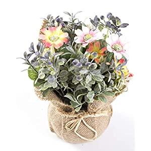 LODESTAR Artificial Flower in Beautiful Pot Mini Fake Floral Bouquet Indoor Outdoor Home Office Wedding Decoration 2