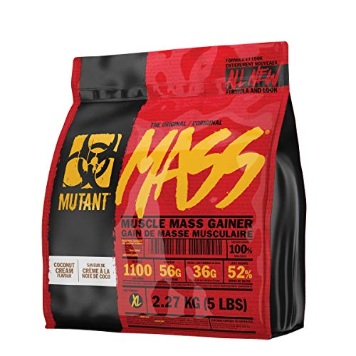 Mutant Mass - Weight Gainer Protein Powder with Whey and Casein Protein Blend for High-Calorie Workout Shakes, Smoothies and Drinks - 5 lbs - Coconut Cream (Top 5 Best Mass Gainers)