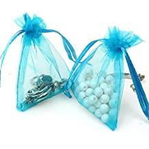 ECVILLA 100pcs 4 x 6 Inch Organza Bags, Organza Drawstring Pouch Jewelry Party Wedding Favor Party Festival Gift Bags Candy Bags (Blue)
