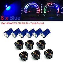 "PA 6 x T10 194 168 Led instrument Panel Dash Light Bulb 1/2"" Twist Lock Socket -12V (Blue)"