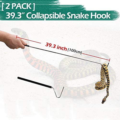 (2-Pack Collapsible Snake Hook, IC ICLOVER Retractable Stainless Steel Snake Hook Adjustable Telescoping Portable Reptile Tool (from 11.4