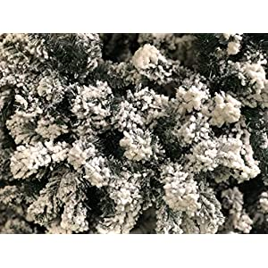 AMERIQUE 691322309737 7 FEET Premium Artificial Full Body Shape Christmas Tree with Metal Stand, Heavily Flocked Snow, Unlit, 7' Snowy 2