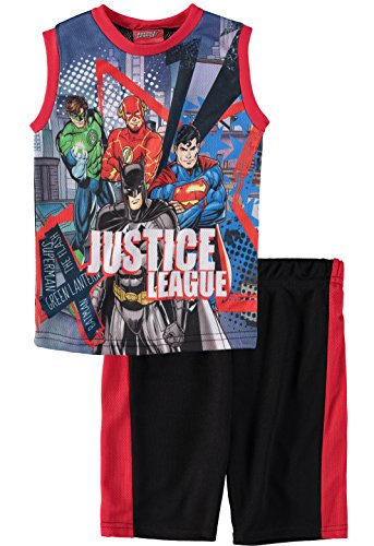 (Superhero Boys' Batman Superman Spiderman Tank Top Short Set (Justice League,)