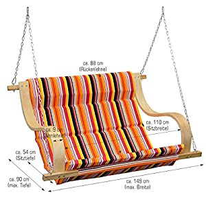 AMANKA Garden Porch Swing Swinging Fabric Bench Hollywood Swing Seat Chair with strong Metal Binding Perfect for Indoor and Outdoor Candy-strip colored Lounger WITHOUT Frame