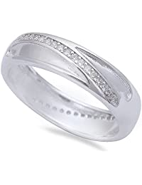 Men's Cz Wedding Engagement Band .925 Sterling Silver Ring Sizes 8-12