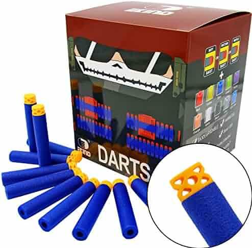 EKIND 200 Pcs 7.2cm New Design TPR Waffles Soft Head Darts Refill Foam Bullet for Nerf N-strike Elite AccuStrike Guns(Blue)