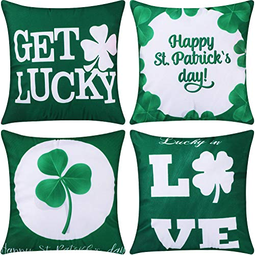 Jetec 4 Pieces Decorative Pillow Cover Pillow Case Sofa Back Throw Cushion Cover for Easter Day, St. Patricks Day, Thanksgiving Day Home Decoration, 18 by 18 Inches(Color Set 3)