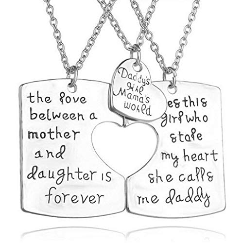 KUUCOL Pendant Stainless Steel Mother Father Daughter Heart Necklace Set (Silver) ()