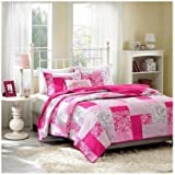 Coverlet Bed Set Pink Polka Dots Paisley Floral Plaid Teen Bedding Full/queen or Twin Xl. Update Your Bedroom Instantly (FULL/QUEEN)
