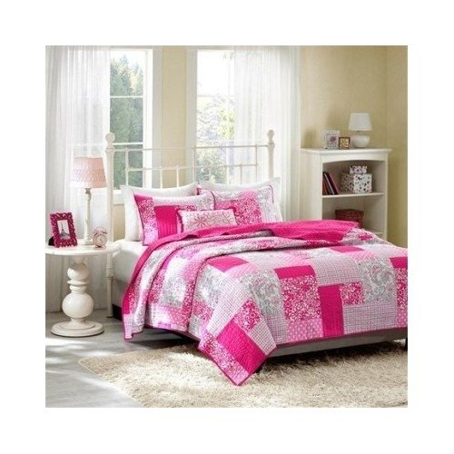 Coverlet Girls Bedroom Bed Set Pink Polka Dots Paisley Floral Plaid Teen