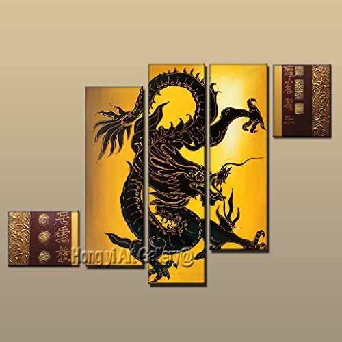 Hong yi art-100% Hand-painted Framed Original Large Contemporary Home Living Room Decoration Wall Art Canvas Chinese style Feng Shui Dragon Abstract Oil Painting on Canvas 5pcs/set Aset7