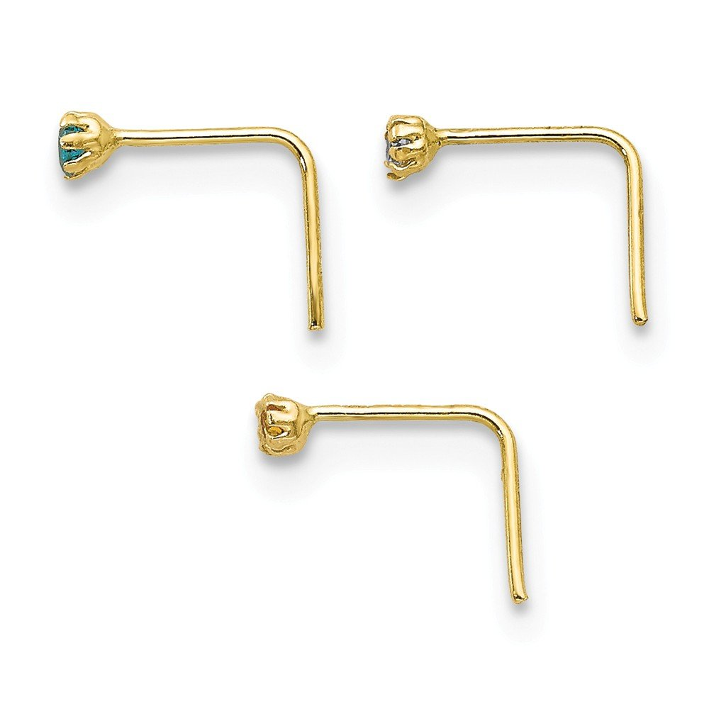 Solid 10K Gold 1.5mm Set Of 3 Nose Studs Jewels By Lux
