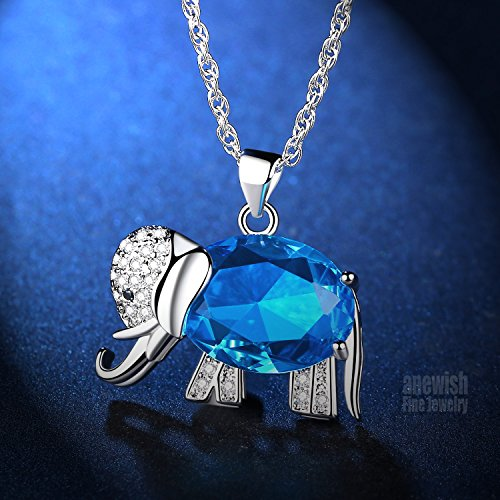 FLORAY Womens and Girls Pendant Necklace Blue High Quality Crystal Elephant Best Gift for Ladies sNuuqR