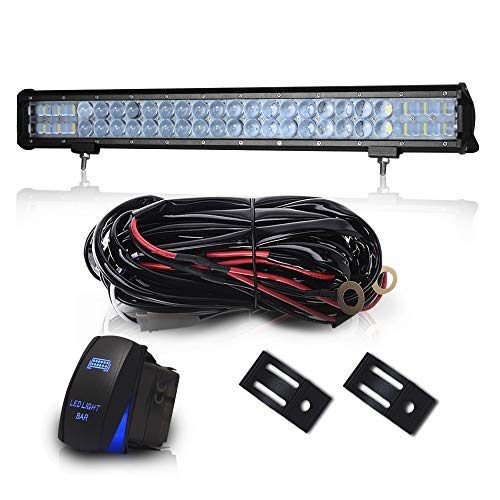 "DOT 23"" Inch 144W Led Light Bar Combo Grill Windshield Bumper Light Bar + 1x Rocker Switch + 1x Wiring Harness for Trailer Boat SUV ATV Truck Jeep Wrangler Dodge Chevy Ford F150 F250 Tractor Toyota"