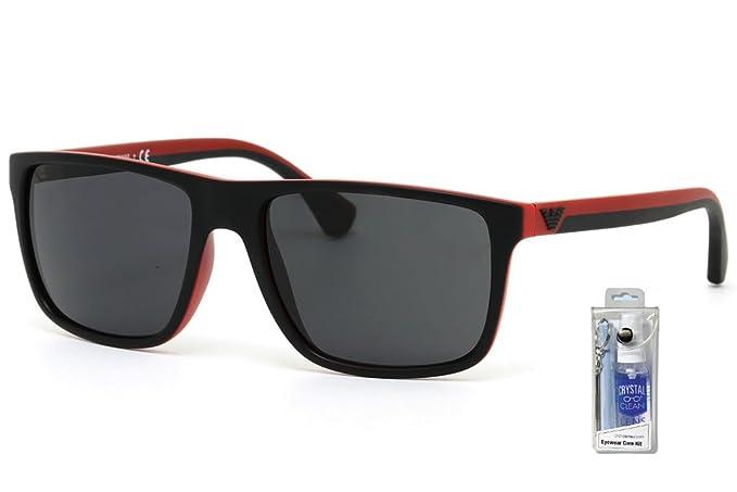 866b8e1387b3 Emporio Armani EA4033 532487 Black Red Rubber Grey Bundle-2 Items ...