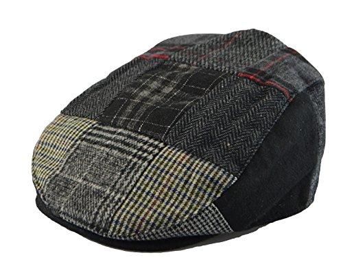 Ivy Driver - Mens Winter Plaid Tweed Flat Ivy Driver Hat Cabbie Patch Work Ivy Cap M, L, XL (M(22 5/8 in / 7 1/4 / 58cm), Black(1579))