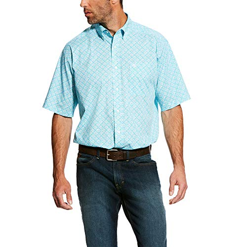 ARIAT Men's Classic Fit Short Sleeve Button Down Stretch Shirt, Multi, MED R