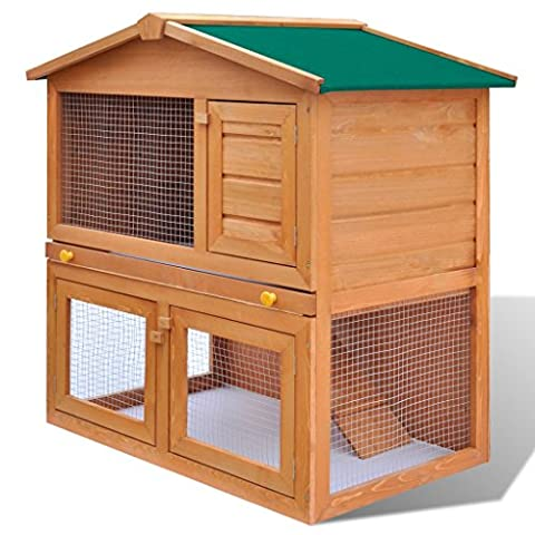 Pettom Outdoor Pet Bunny House Wooden Two Story Rabbit Hutch Small Animal House Pet Cage (3 Door:36.6'' x 23.6'' x 38.2'' (L x W x - 2 Rabbits