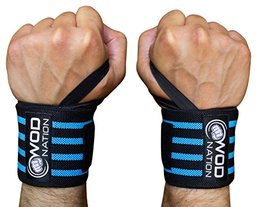 WOD Nation Wrist Wraps Wrist Support Straps (12' or 18') - Fits Both Men & Women - Strength Training, Weightlifting, Powerlifting - Lift Heavier Weight (12 Inch - Black/Lt Blue)