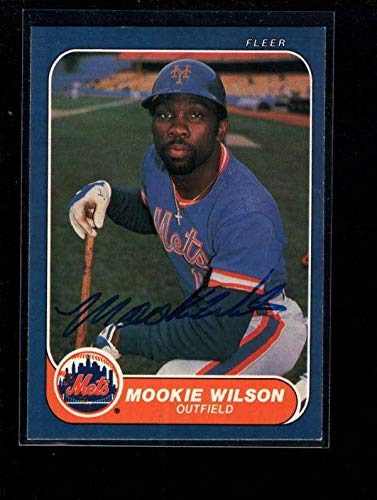 - 1986 Fleer #97 Mookie Wilson Authentic Card Autograph Signature Ax6186 - Baseball Slabbed Autographed Cards