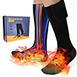 Electric Heated Socks with Rechargeable Battery Powered,Winter Thermal Socks Kits with 3 Heat Settings Keep Men and Women Foot Warm Fits, Cotton Bas Chauffant for Indoor Outdoor - Black