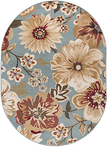 (Camila Transitional Floral Blue Oval Area Rug, 5' x 7' Oval )