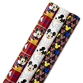 Hallmark Disney Mickey Mouse Wrapping Paper with Cut Lines (Pack of 3, 105 sq. ft. ttl.) for Birthdays, Father's Day, Baby Showers, Christmas or Any Special Occasion