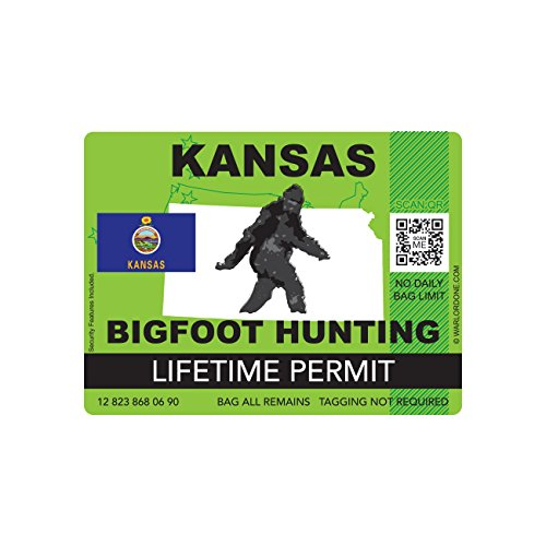 Kansas Bigfoot Hunting Permit Sticker Die Cut Decal Sasquatch Lifetime FA Vinyl