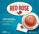 Red Rose Black Tea Bags, 100Count (Pack of 6)