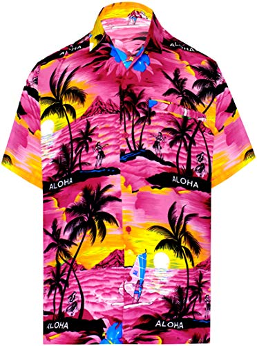 LA LEELA Likre Aloha Dress Shirt Pink 477 Large | Chest 44